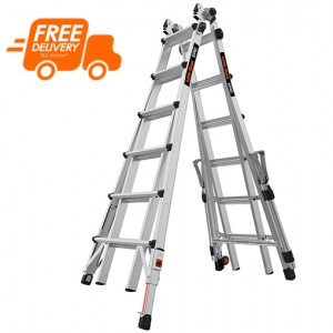 LITTLE GIANT Epic Model 26 Telescopic Ladder with Ratchet Levellers and Safety Rails 2.0m - 7.0m