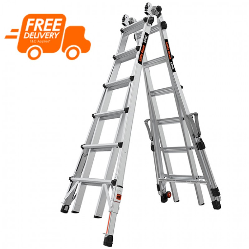 LITTLE GIANT Epic Model 26 Telescopic Ladder with Ratchet Levellers and Safety Rails 2.0m - 7.0m image