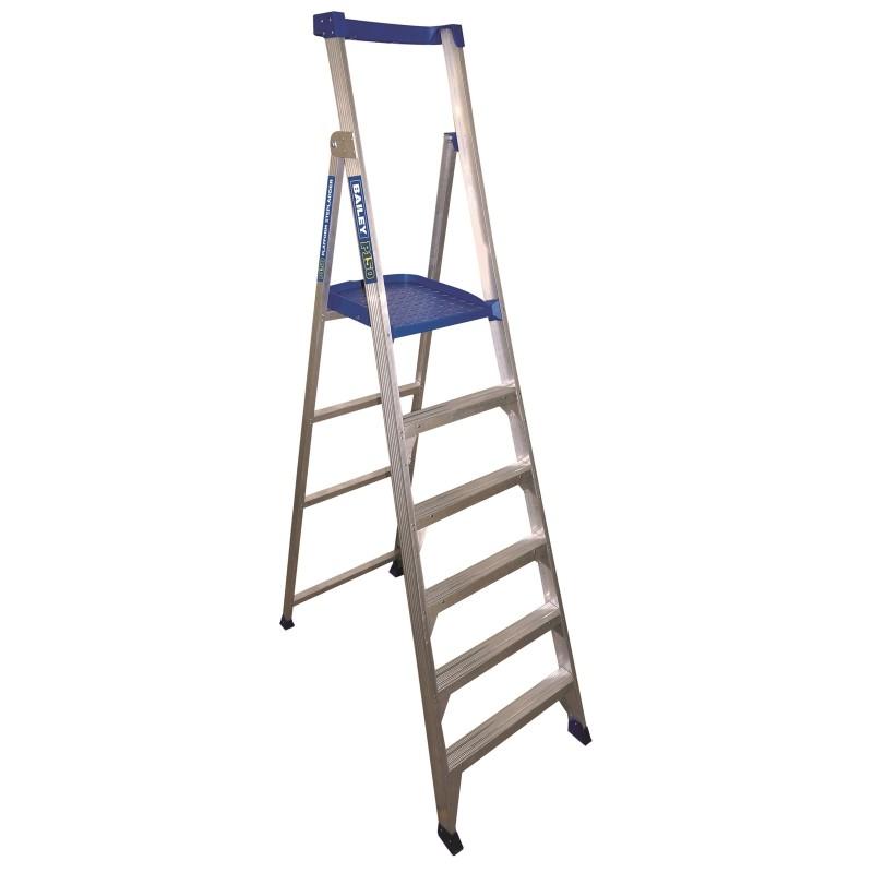BAILEY P150 Aluminium Platform Ladder 6 Steps 9ft/6ft (2.7m/1.8m) image