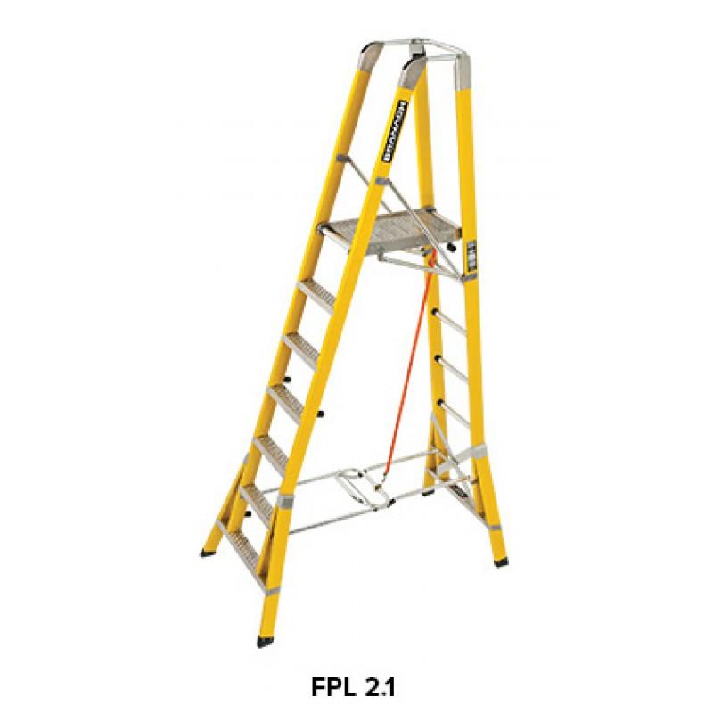 BRANACH Fibreglass WorkMaster 450mm Safety Platform Ladder 7 Step 21m Height