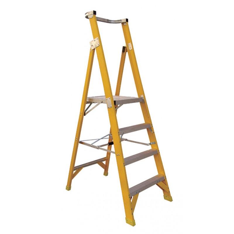 CLIMBMAX Fibreglass Platform Ladder 3 Steps 6ft/3ft (1.8m/0.9m) image