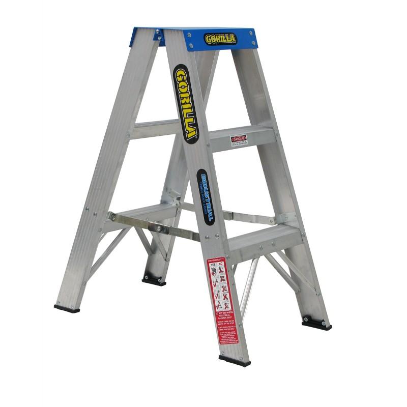 Gorilla Aluminium Double Sided Step Ladder 120 Kg 3ft 0 9m