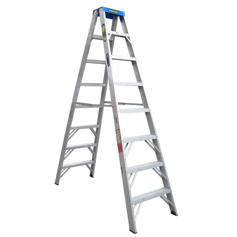 Gorilla Aluminium Double Sided Step Ladder 120 Kg 8ft 2 4m