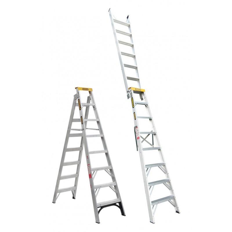 GORILLA Aluminium Dual Purpose Ladder 150 kg 8ft 2 4m - 4 5m