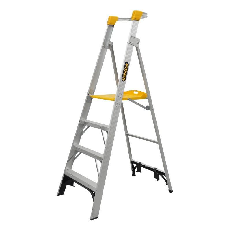 Gorilla Aluminium Platform Ladder 4 Steps 7ft 4ft 2 1m 1