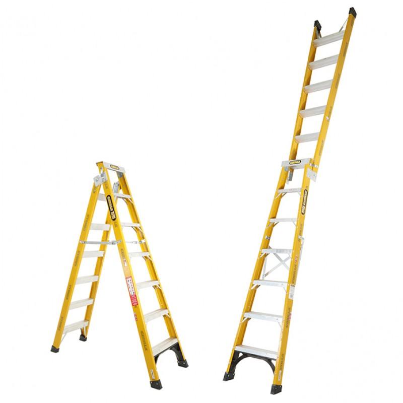 GORILLA Fibreglass Dual Purpose Ladder 150 kg 7ft 2 1m - 3 8m