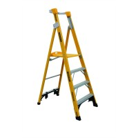 GORILLA Fibreglass Platform Ladder 4 Steps 7ft/4ft (2.1m/1.2m)