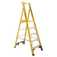 GORILLA Fibreglass Platform Ladder 5 Steps 8ft/5ft (2.4m/1.5m)