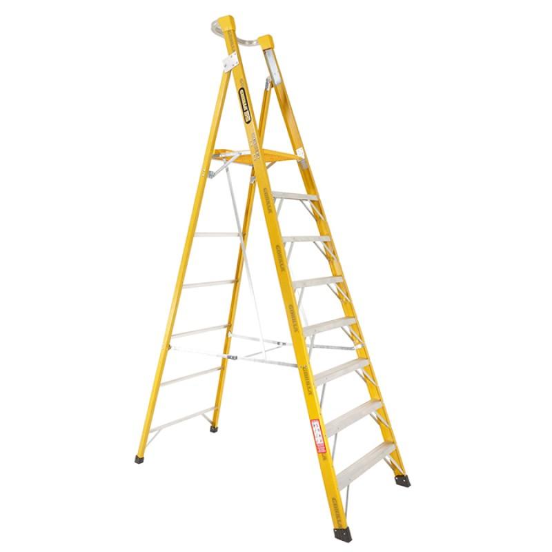 GORILLA Fibreglass Platform Ladder 8 Steps 11ft/8ft (3.3m/2.4m) image