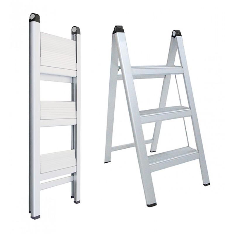 INDALEX Aluminium Slimline Ladder 3 Steps 0.8m image