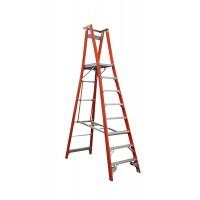 INDALEX Pro Series Fibreglass Platform Ladder 8 Steps 11ft/8ft (3.4m/2.4m)