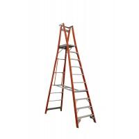 INDALEX Pro Series Fibreglass Platform Ladder 10 Steps 13ft/10ft (4.0m/3.0m)