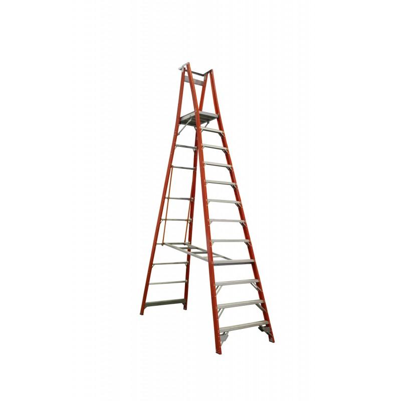 INDALEX Pro Series Fibreglass Platform Ladder 12 Steps 15ft/12ft (4.6m/3.6m)