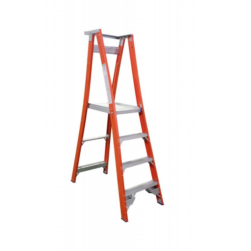 INDALEX Pro Series Fibreglass Platform Ladder 4 Steps 7ft/4ft (2.1m/1.2m)