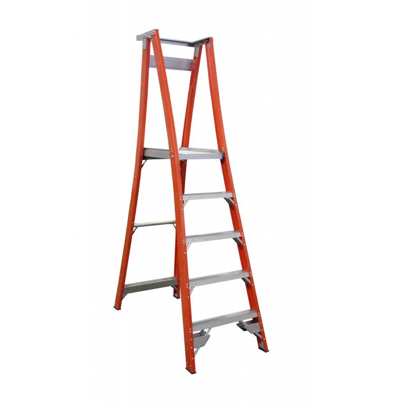 INDALEX Pro Series Fibreglass Platform Ladder 5 Steps 8ft/5ft (2.4m/1.5m)