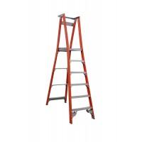 INDALEX Pro Series Fibreglass Platform Ladder 6 Steps 9ft/6ft (2.7m/1.8m)