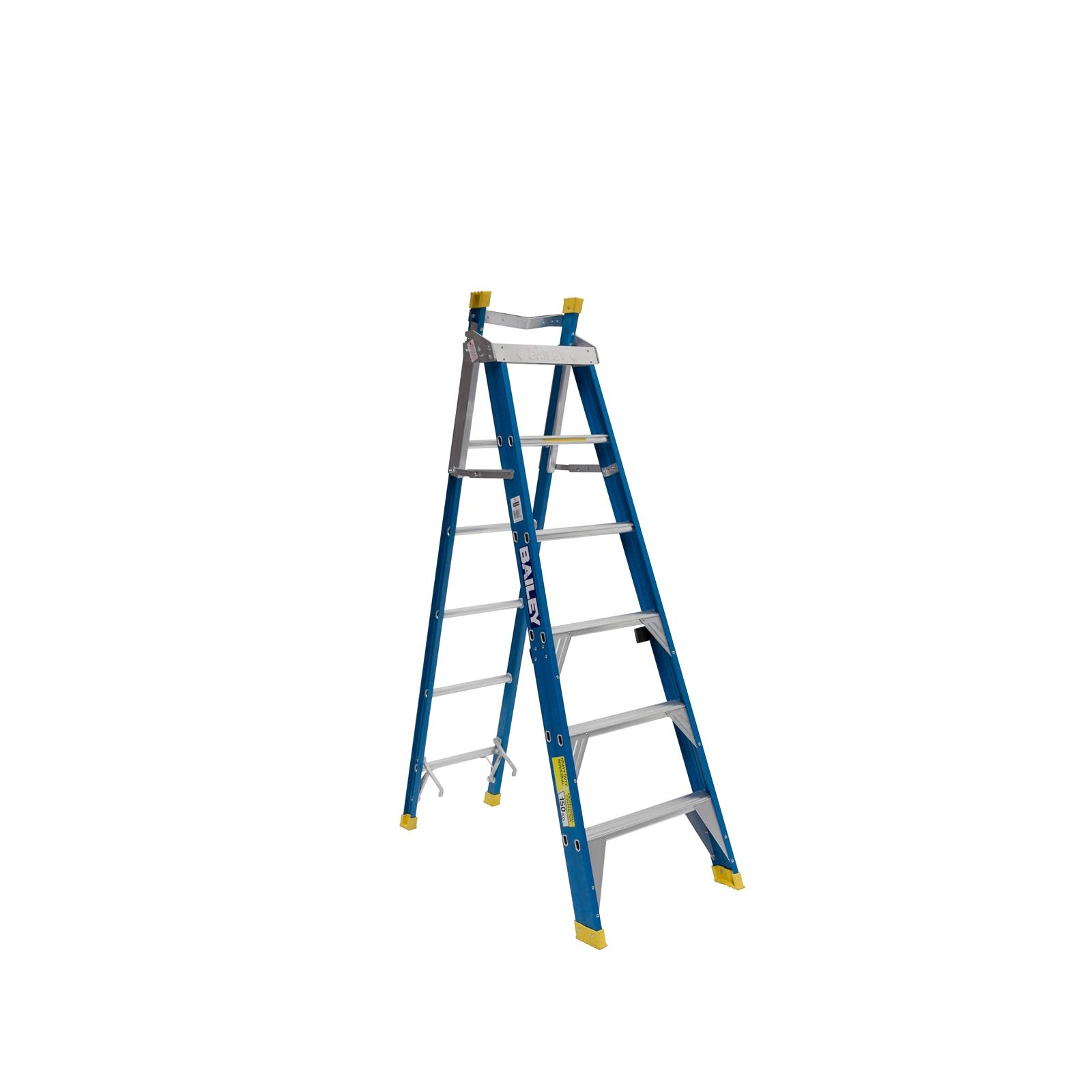 Fibreglass step extension ladder cut through gas pipe