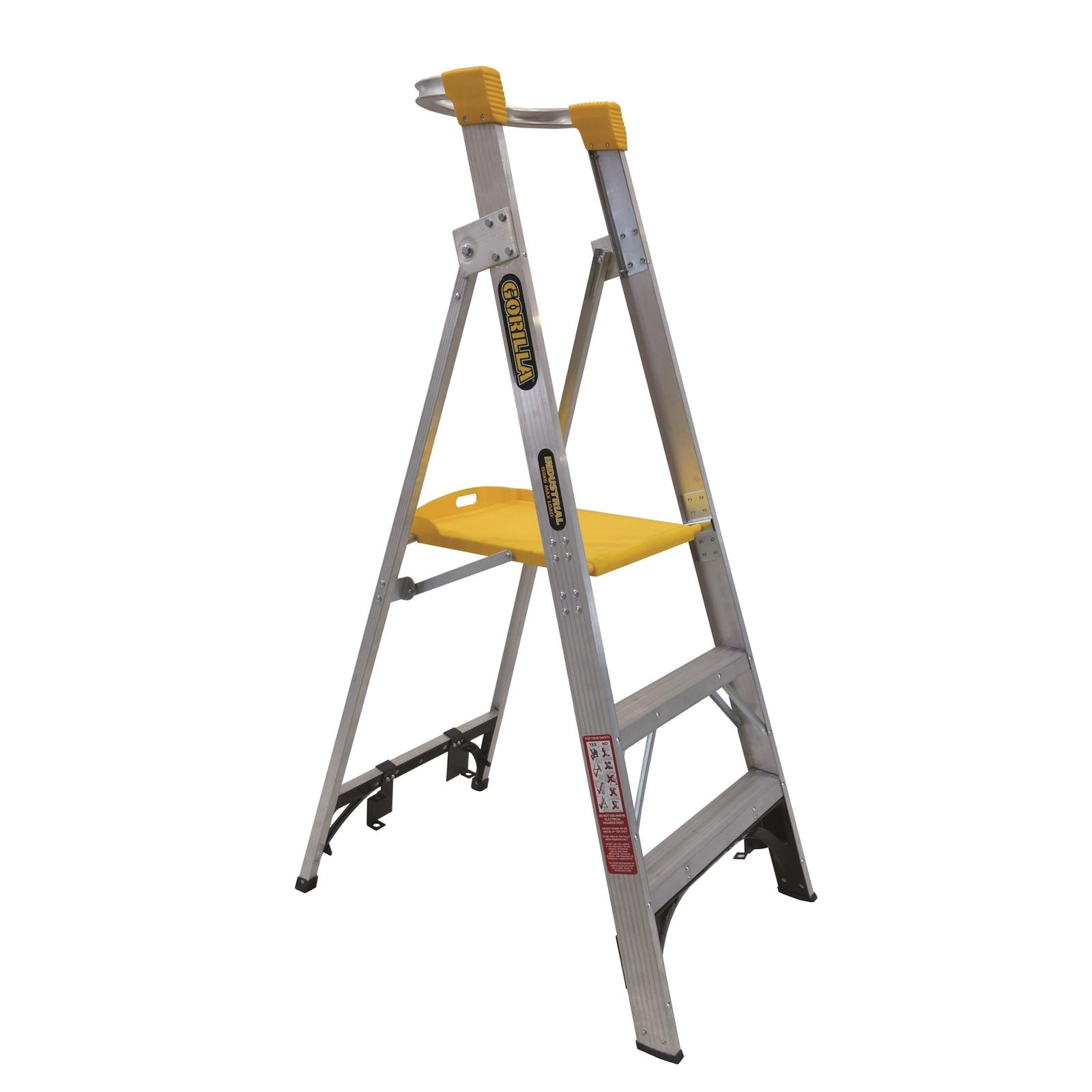 Gorilla Aluminium Platform Ladder 3 Steps 6ft 3ft 1 8m 0