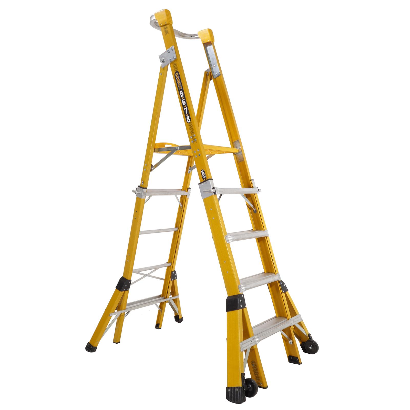 Gorilla Adjustable Fibreglass Platform Ladder 1 5m 2 4m