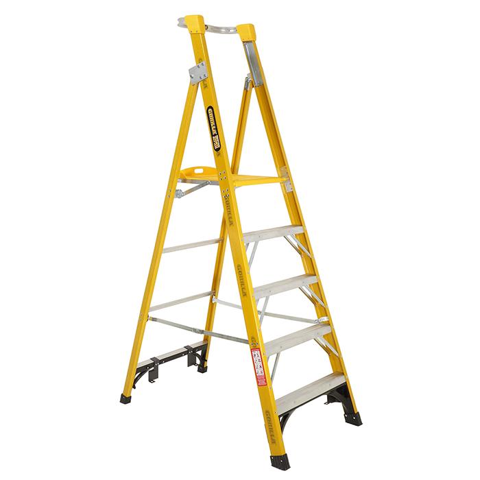 Gorilla Fibreglass Platform Ladder 5 Steps 8ft 5ft 2 4m 1