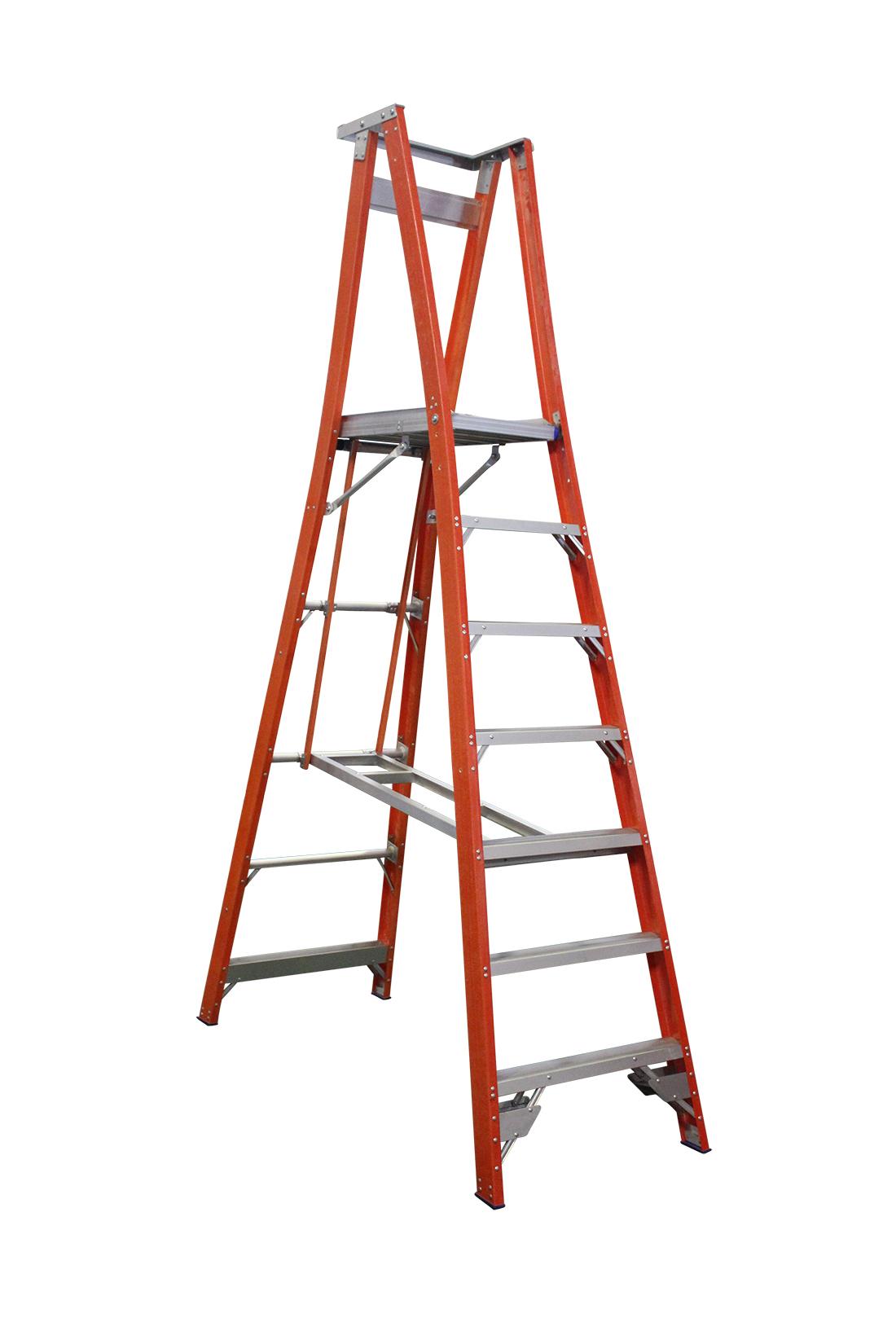 Indalex Pro Series Fibreglass Platform Ladder 7 Steps 10ft